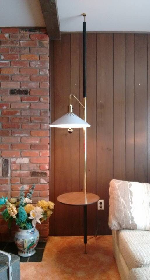 Beau Mid Century Tension Pole Lamp Table