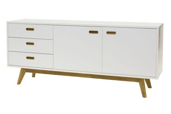Moderne Kommoden bess designer sideboard weiß eiche lackiert matt 2 türen 3