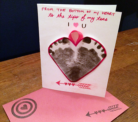 diy baby footprint valentines day cards