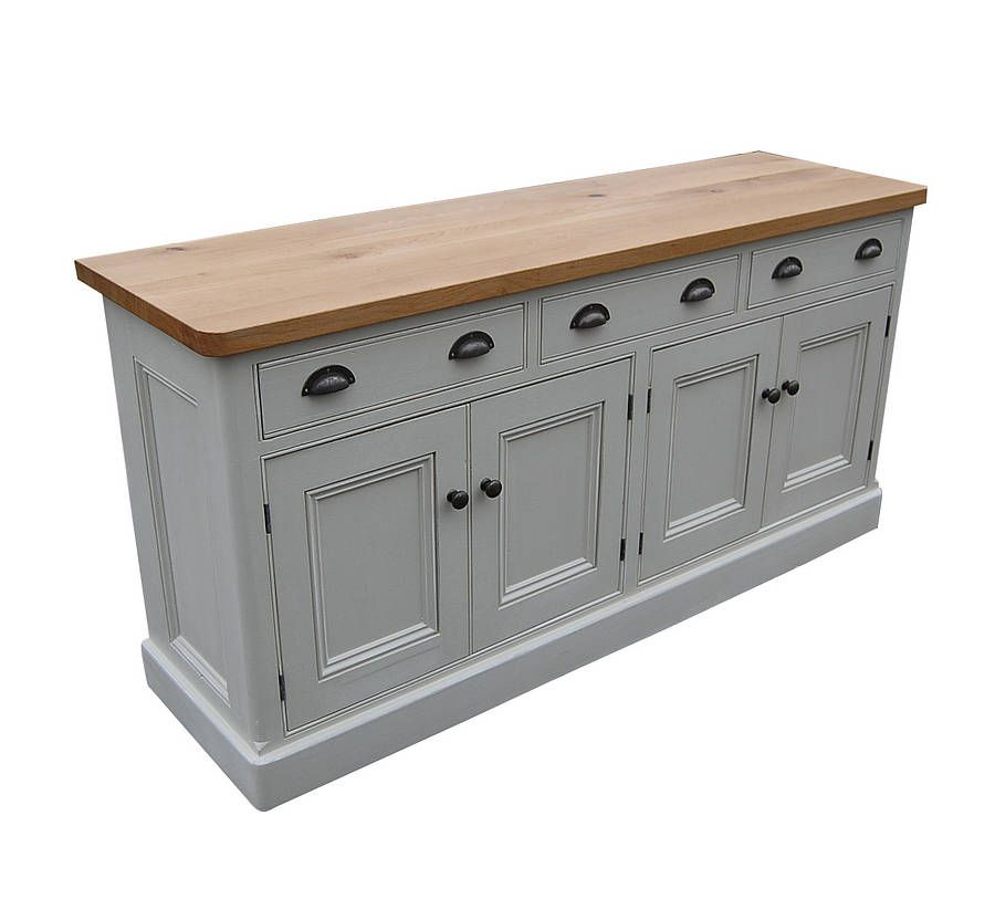 Reclaimed painted wood sideboard wooden tops dresser for Wooden bureau knobs