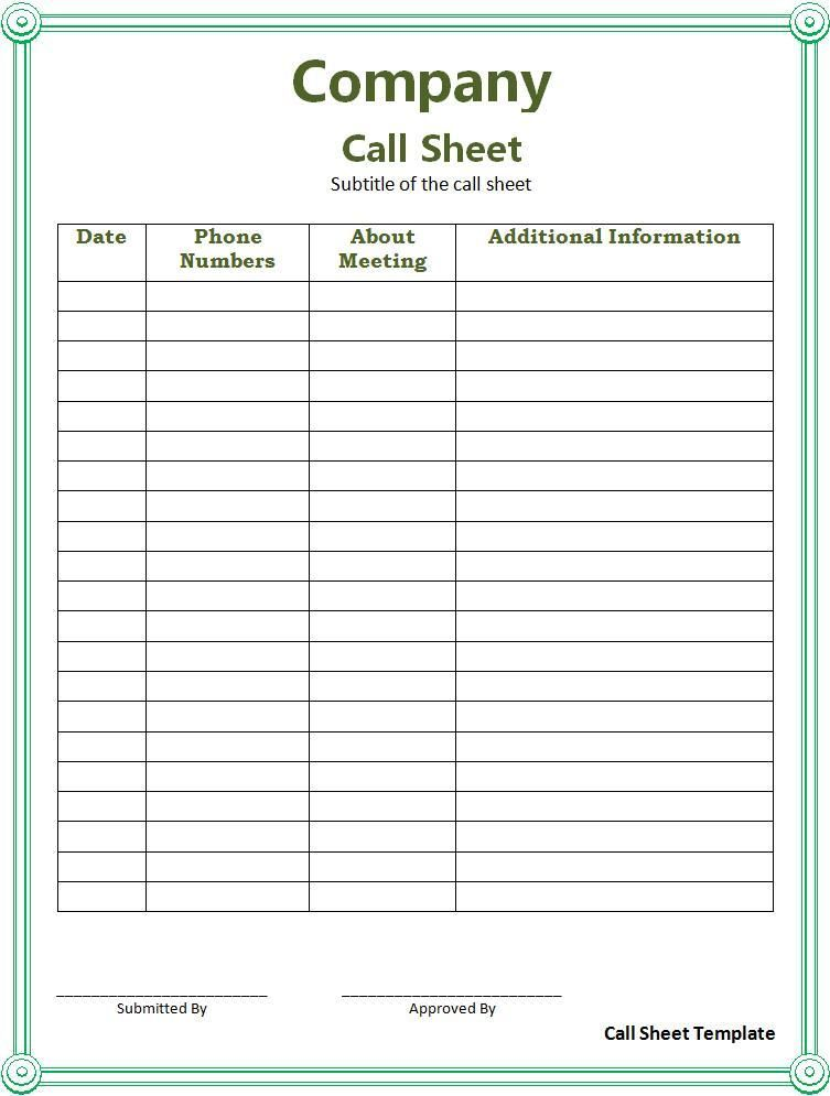Call Sheet Template Word Template List Template Templates