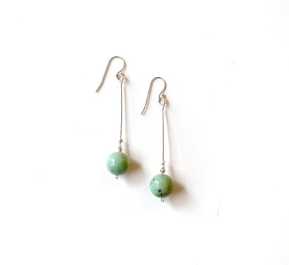 long silver earrings with chrysoprase gemstone and by LaLoreley, $38.00