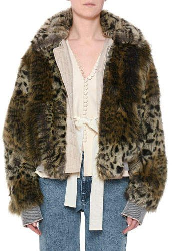 a84a60d00 Stella McCartney Animal-Print Faux-Fur Short Coat   Products   Faux ...