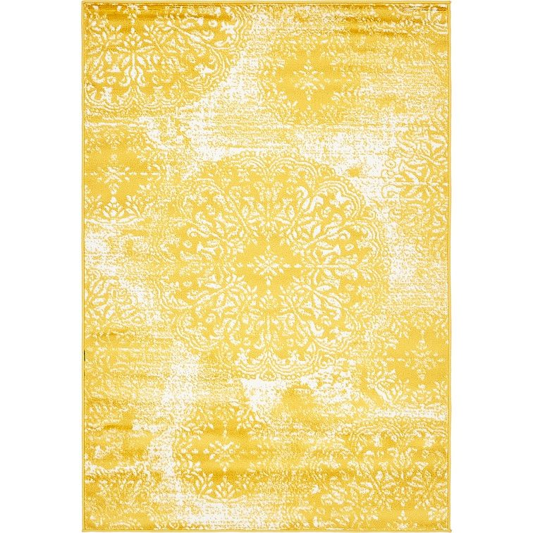 Bungalow Rose Ford Yellow Area Rug