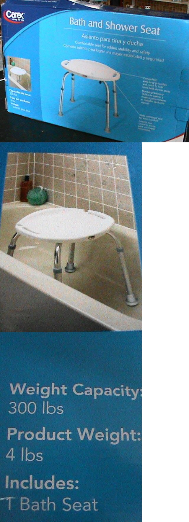 Carex Bath and Shower Seat-Adjustable Height. Easy to grip handles ...