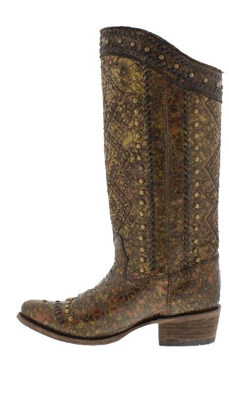 """Corral 17"""" Metallic Brown Western Fashion Boots with Gold Aztec Embroidery - Women's Western Boots - Boots"""