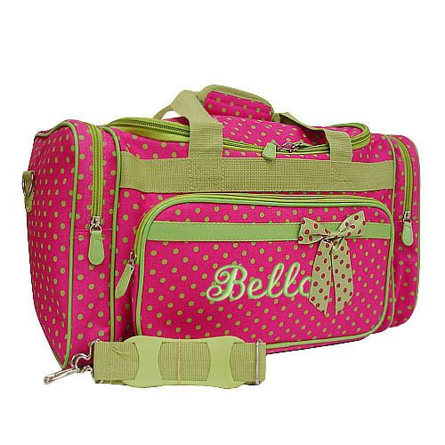 Personalized Duffle Bag Hot Pink Lime Green Polka Dots DANCE GYM ...