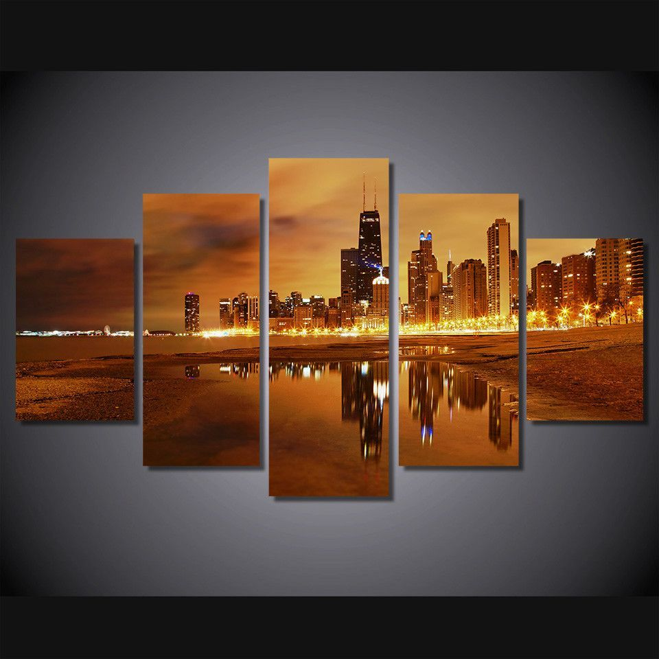Home Decor HD Printed Chicago Late Evening Painting On Canvas Wall Art