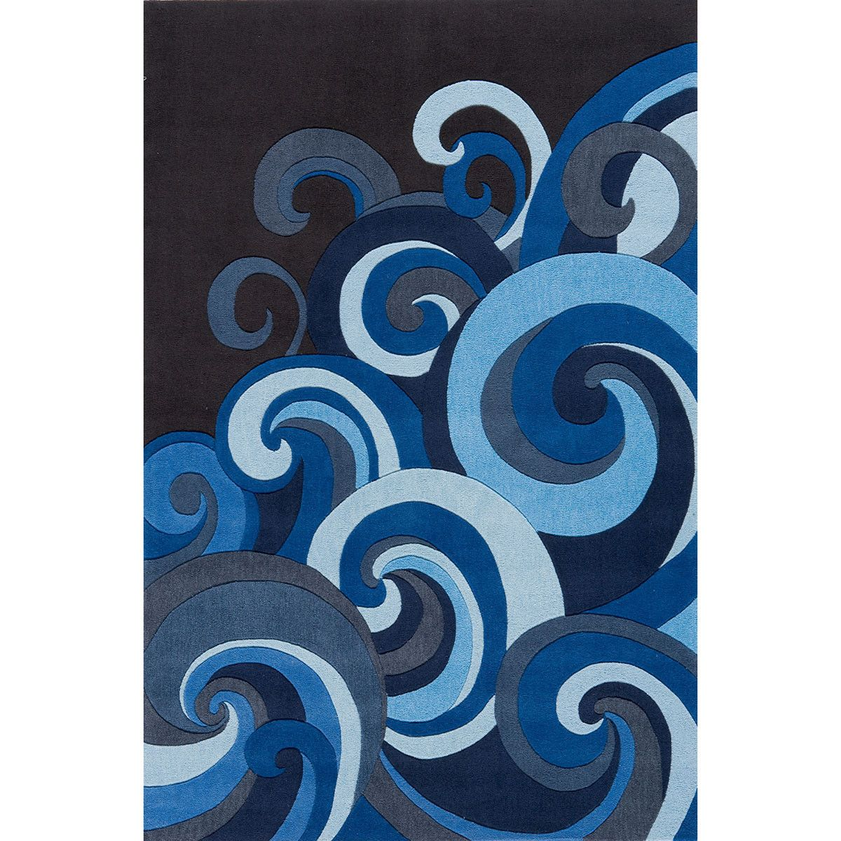 Big Blue Ocean Waves Area Rug Hand Tufted Rugs Hipster Decor