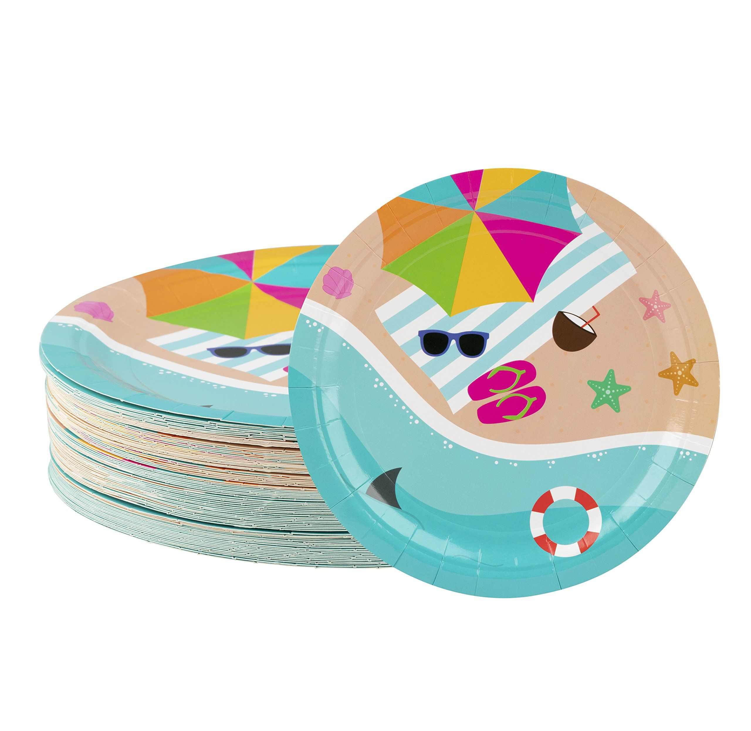 Disposable Plates 80count Paper Plates Summer Beach Party Supplies