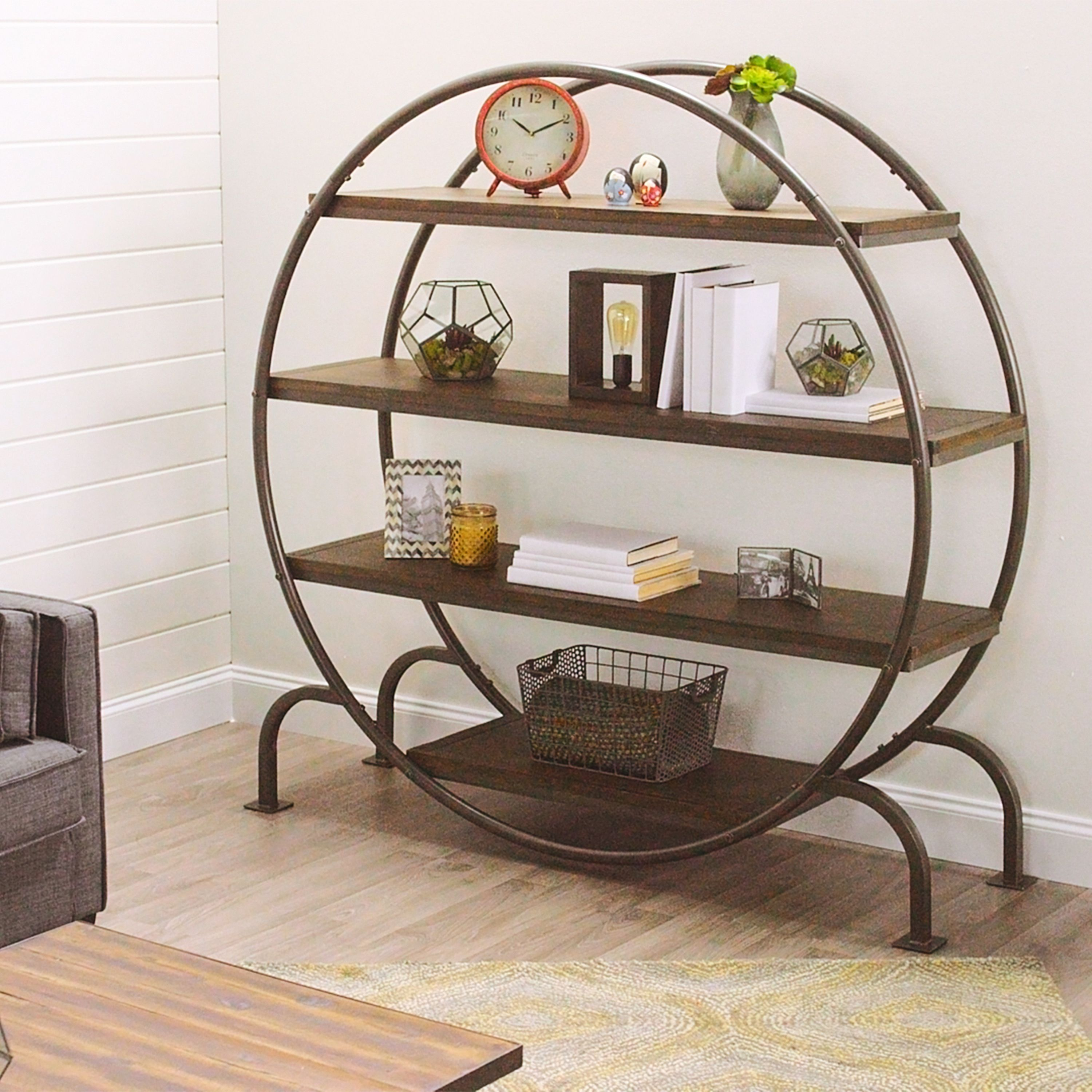 Round Bookcase Urban Industrial Decor Round Bookshelf Vintage