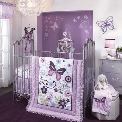 Butterfly Purple And Lavender Crib Bedding Luxurious Baby Bedding