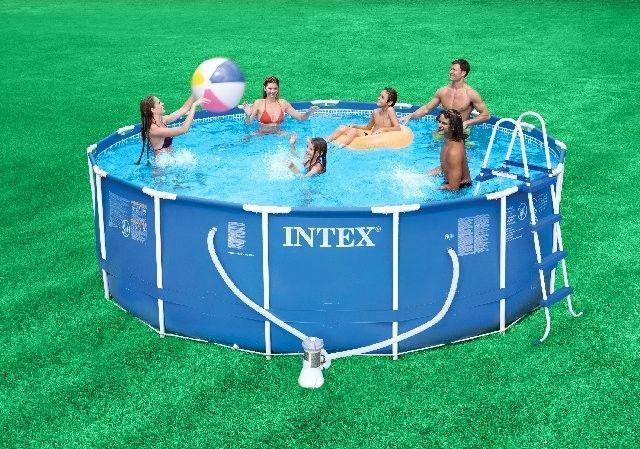 Intex 15 X 42 Metal Frame Pool W Cartridge Filter Pump Above