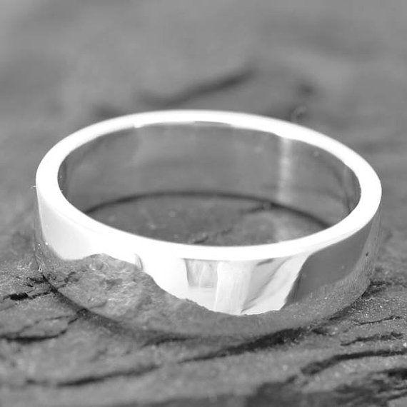 18k Palladium White Gold Ring 4mm X 1mm Flat Wedding Band Square Mens Size Up To 10