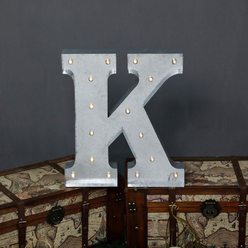 2 Ft Vintage Metal Marquee Letter Lights Cordless With 16 Warm White Led K Lighted Marquee Letters Light Letters Marquee Letters