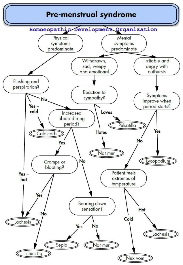 Homeopathy Flowchart For Premenstrual Syndrome Pms Homeopathy