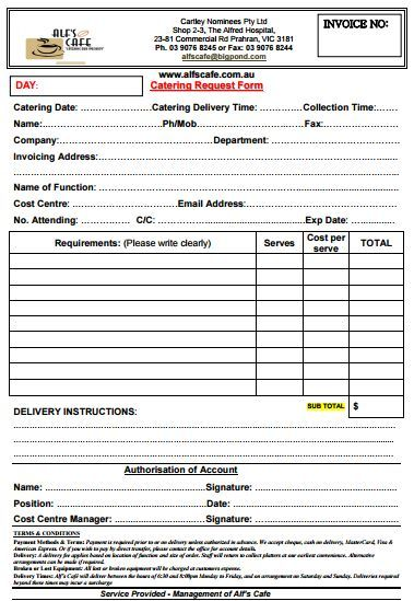Catering Invoice Template   Catering Office    Catering