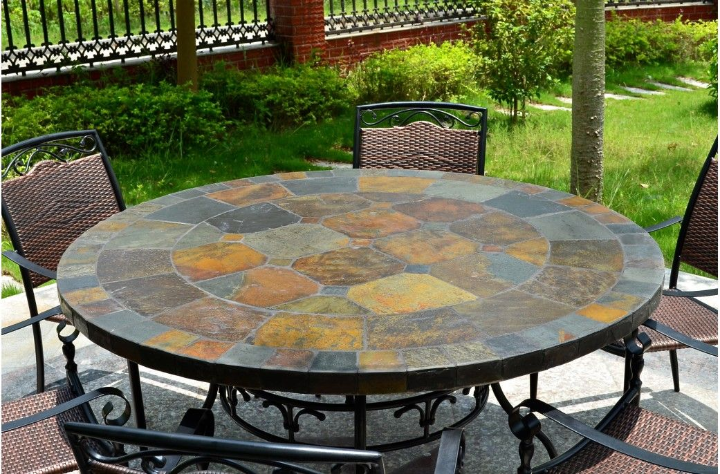 125160cm Round Slate Patio Dining Table Tiled Mosaic Oceane Di 2020 Patio