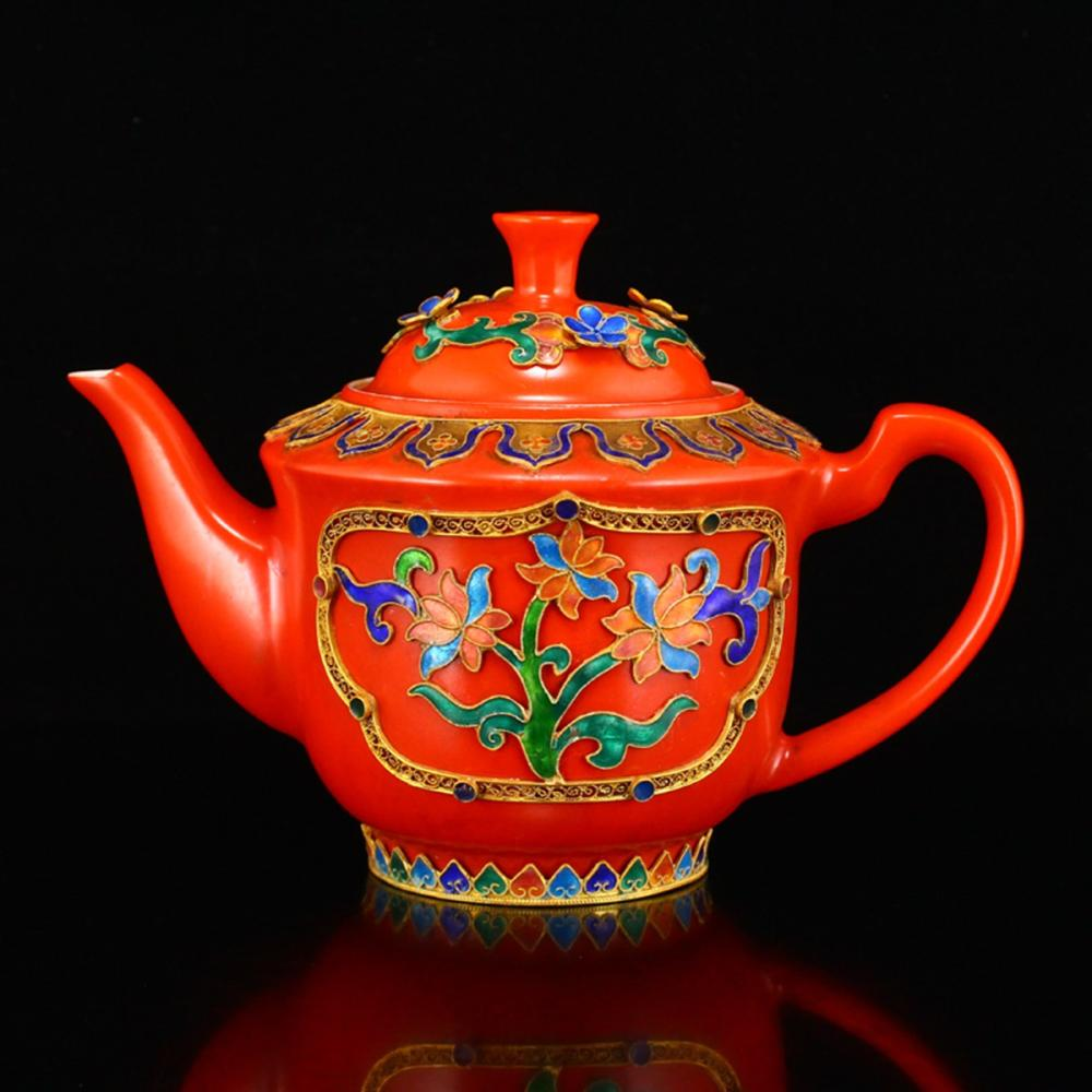 Chinese Red Glaze Porcelain Teapot With Gold Wire Enamel Ornament, Brilliant Red. #teapots