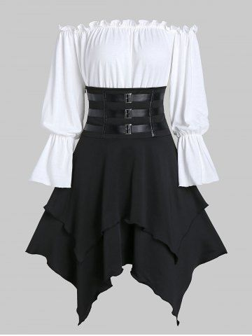 Hooded Strappy Lobster Buckle Strap High Low Gothic Dress