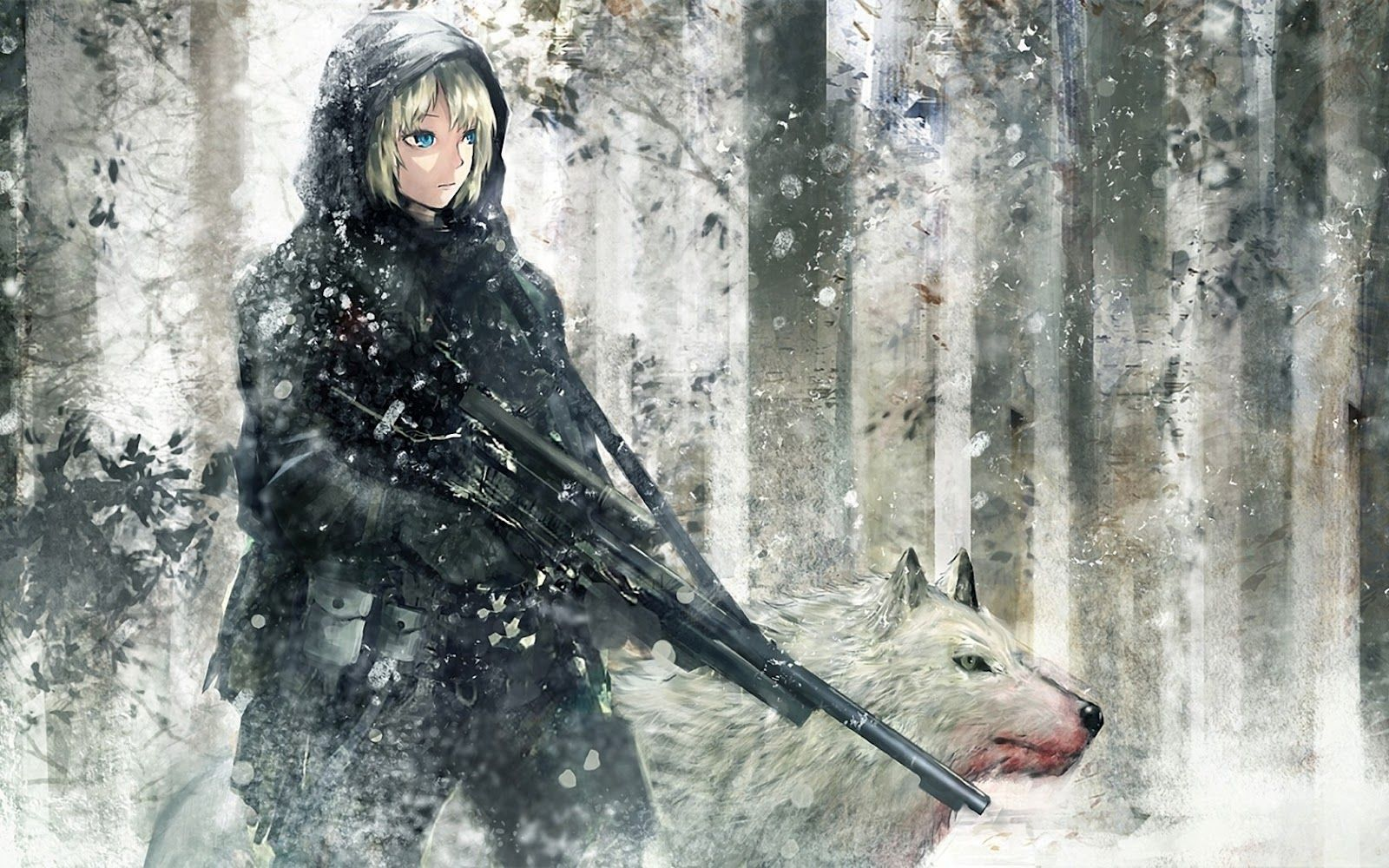 Wolf And Anime Girl With Sniper Wallpaper