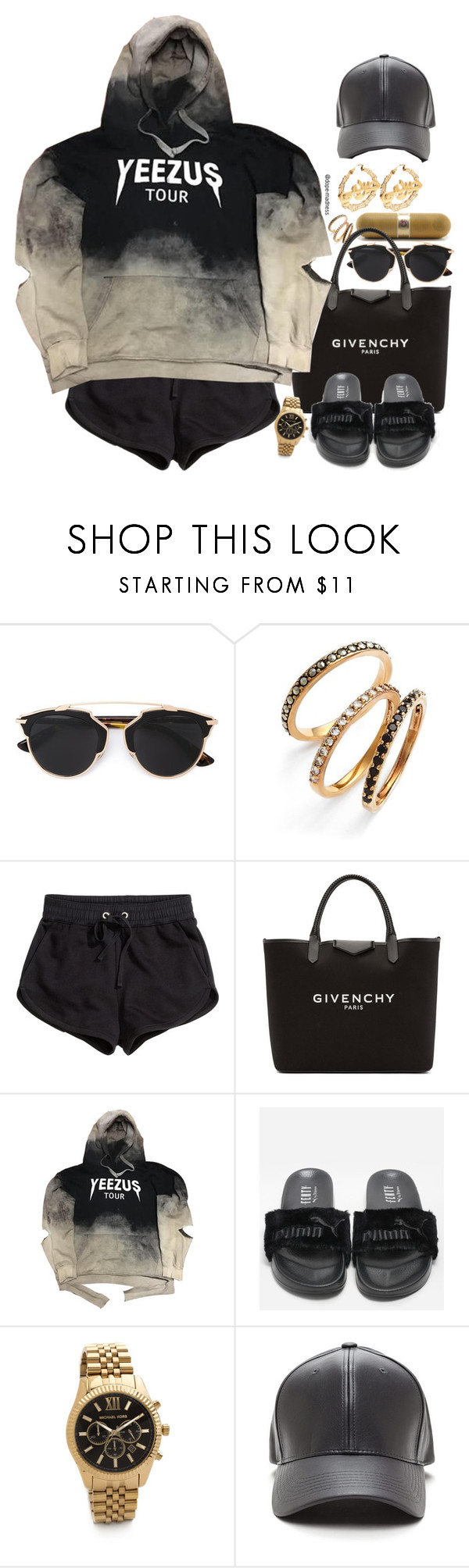 """Yeezus Tour"" by dope-madness ❤ liked on Polyvore featuring Beats by Dr. Dre, Christian Dior, Judith Jack, H&M, Givenchy, Michael Kors and Jeremy Scott"