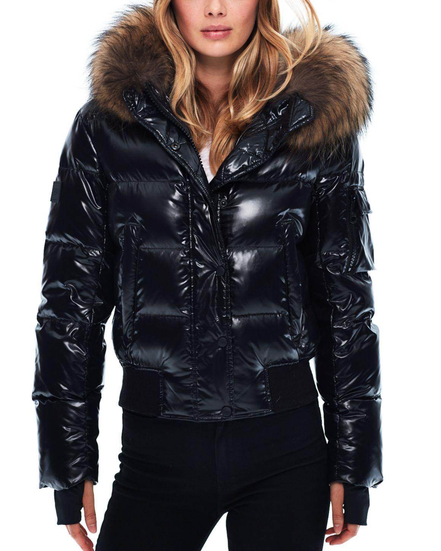 Sam Skyler Fur Trim Short Down Coat Coats For Women Shiny Jacket Puffer Coat [ 1450 x 1160 Pixel ]