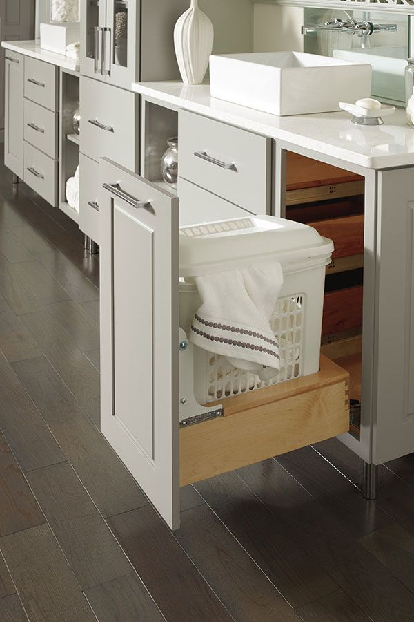 Removable Vented Vanity Hamper Pulls Out From Under The Bathroom