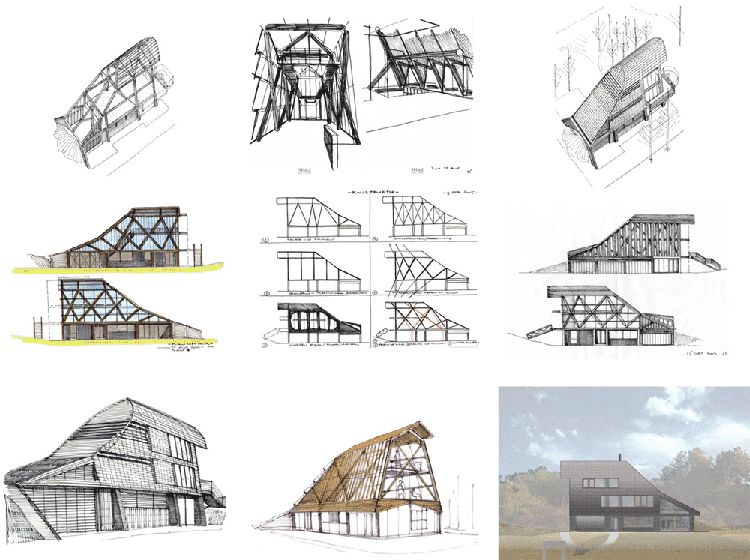 Curved roof house with tiled exterior Architecture