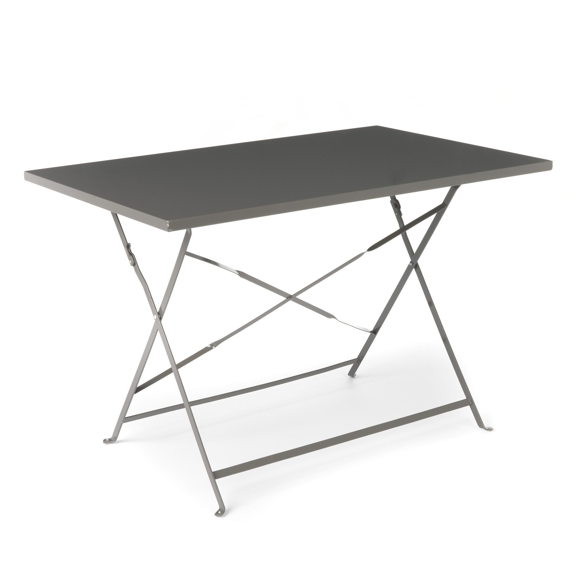 Table De Jardin Terrasse Pliante En Metal Epoxy Taupe Gris