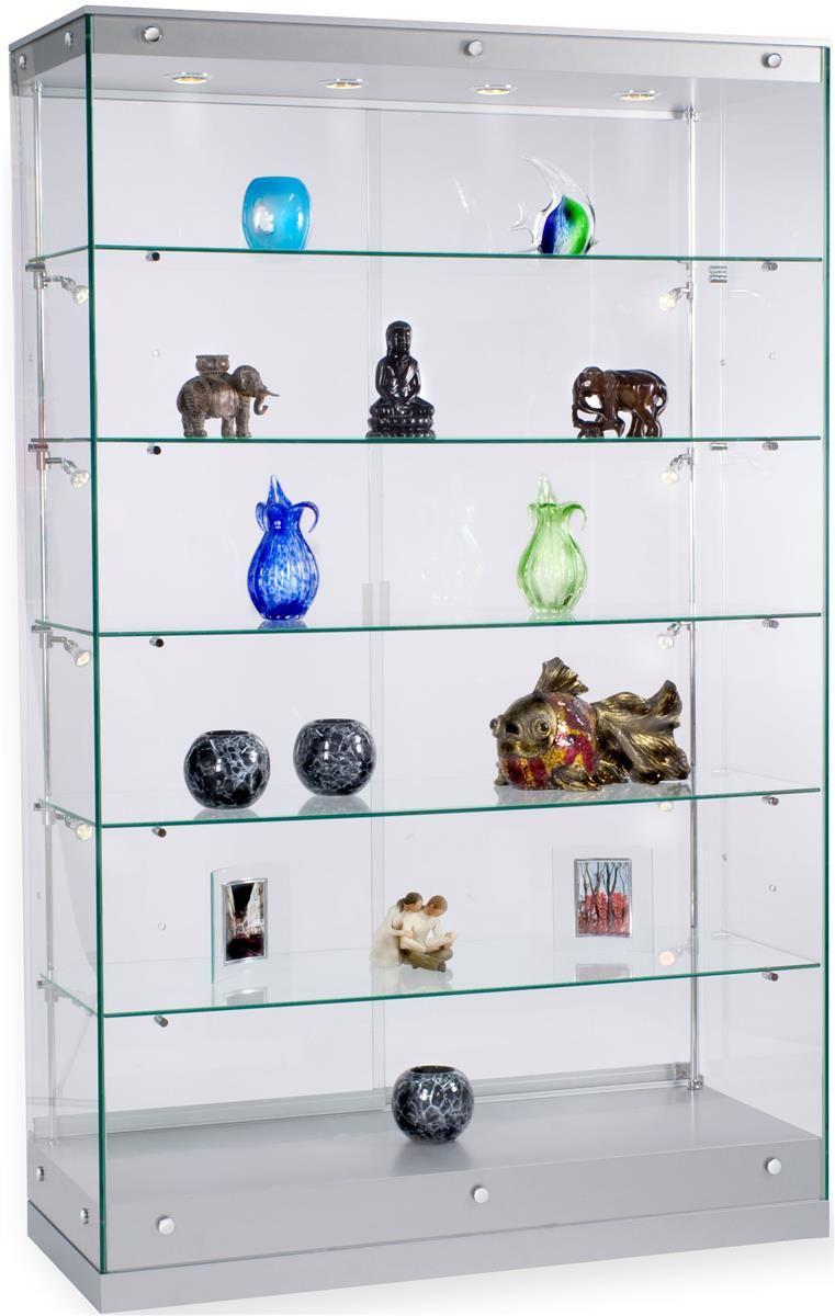 48 Glass Display Case W Framless Design Adjustable Shelves Sliding Door Silver In 2020 Glass Shelves Glass Shelves Decor Glass Display Case