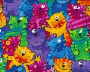 Baumwollflanell GAIL mit Katzen, pink-blau-lila-grün