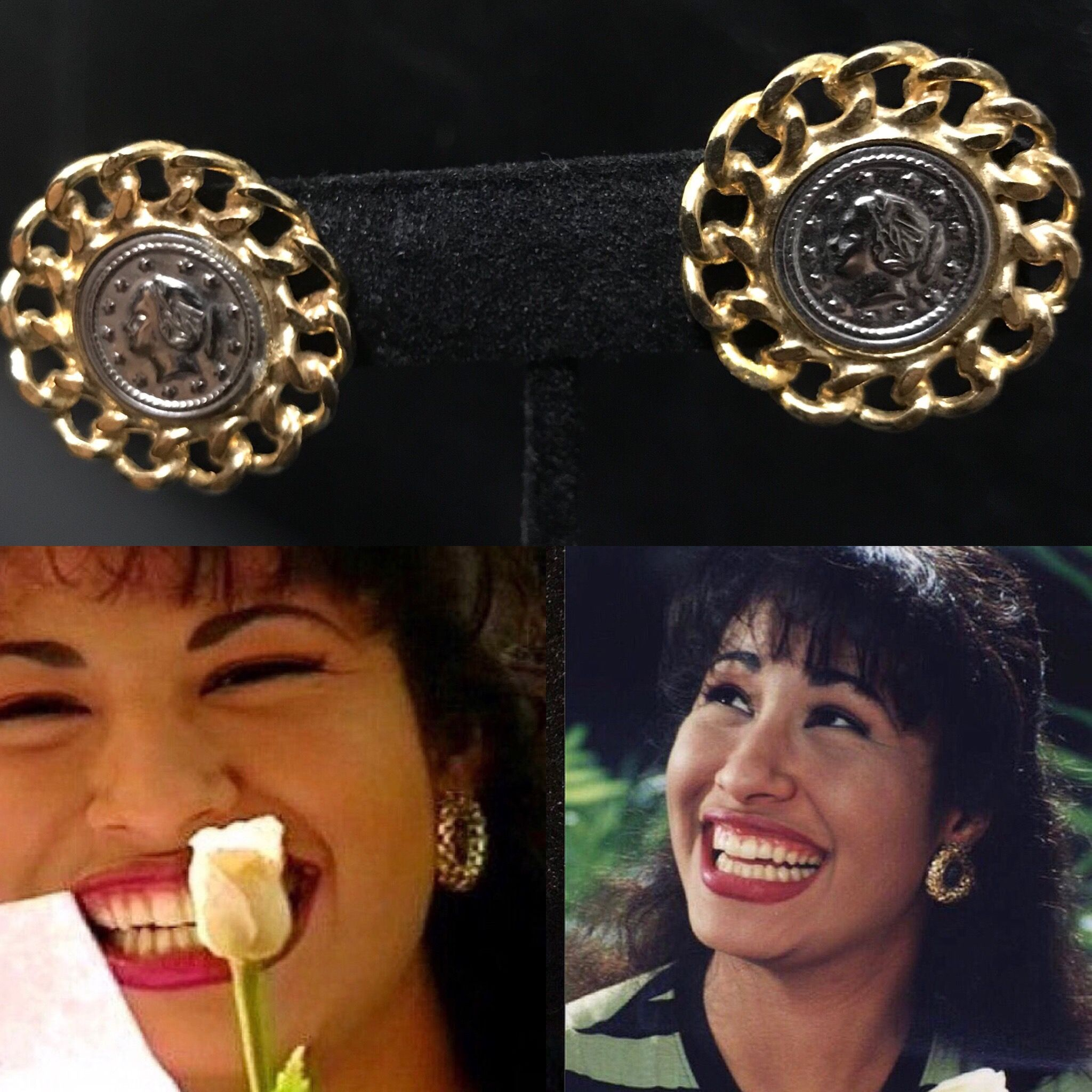 0978577f602 Selena Quintanilla inspired jewelry Coin earrings with gold chain trim