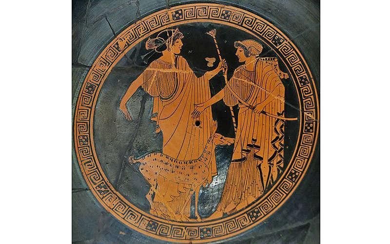 In Greek mythology, Apollo and Artemis, shown in 470 BC artwork, are the Twin Archers. The ...