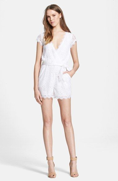 8451cb2aee5 This LWR (little white romper) is perfect for a bachelorette party or  bridal shower! Diane von Furstenberg  Purdette  Lace Romper
