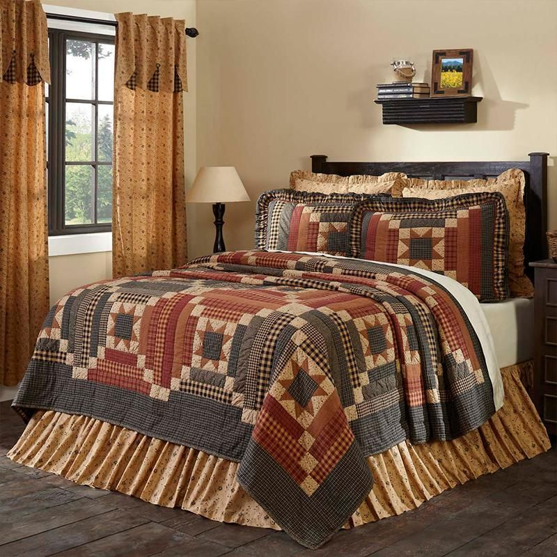 Quilt Sets Maisie Tan Quilt By Vhc Brands 100 Cotton Black