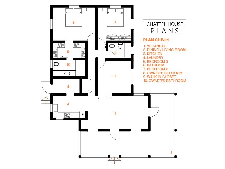 Plan Chp 01 Schematic Plans Chattel House Plans How To Plan