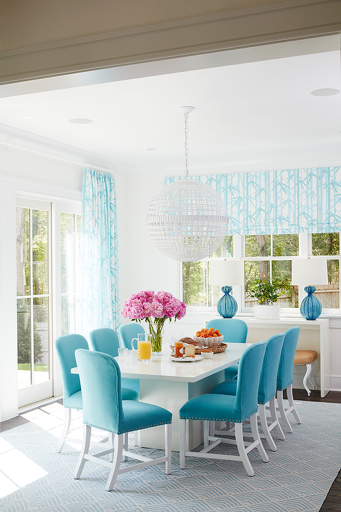 Meg Braff Designs   Welcoming Contemporary White And Turquoise Dining Room  Features A Mill Ceiling Light Hung Over A White Lacquered Dining Table  Surrounded ...