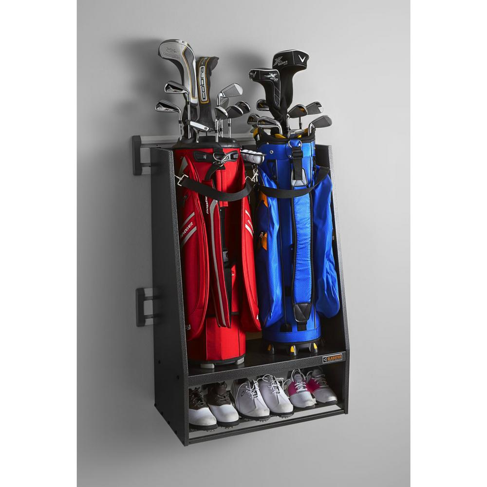 Gladiator 32 In L Geartrack Golf Garage Wall Storage Kit With 2 Bag Caddy Gakt32gfgg The Home Depot Garage Wall Storage Wall Storage Diy Garage Storage