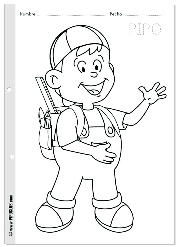 PIPO Vuelta al cole - Colorear escuela infantil School coloring ...