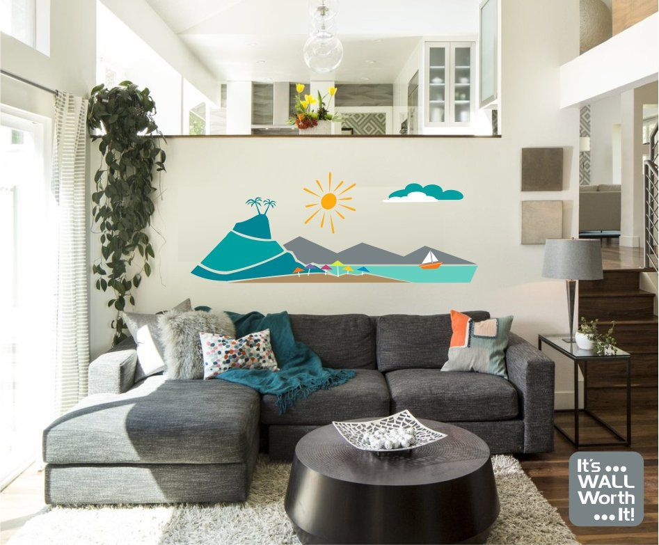 Beach scene vinyl wall decal beach home decor or bedroom