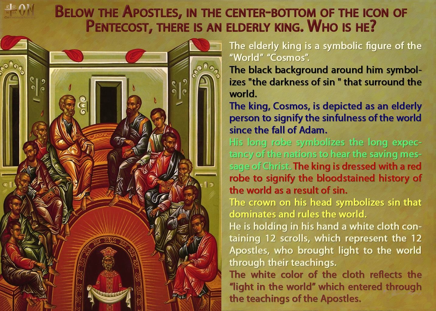 Description of a common Orthodox icon of the Apostles. Pentecost is considered the birth of the Christian church. The Apostles' Creed summarizes their teachings which we inherit.