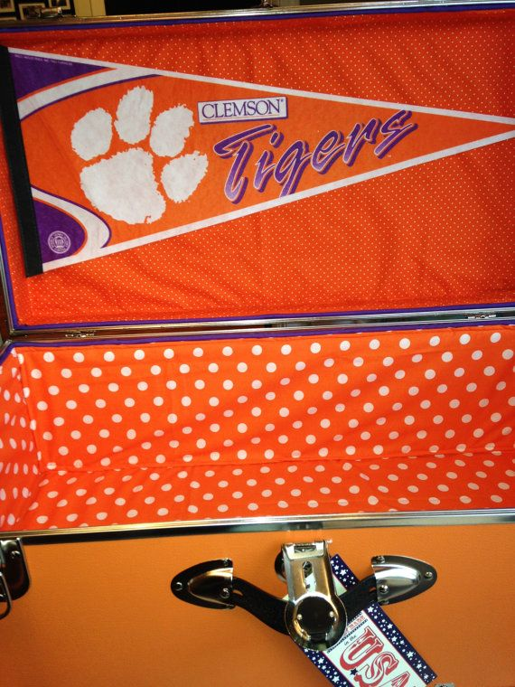 Orange and purple trunk for Clemson students. High