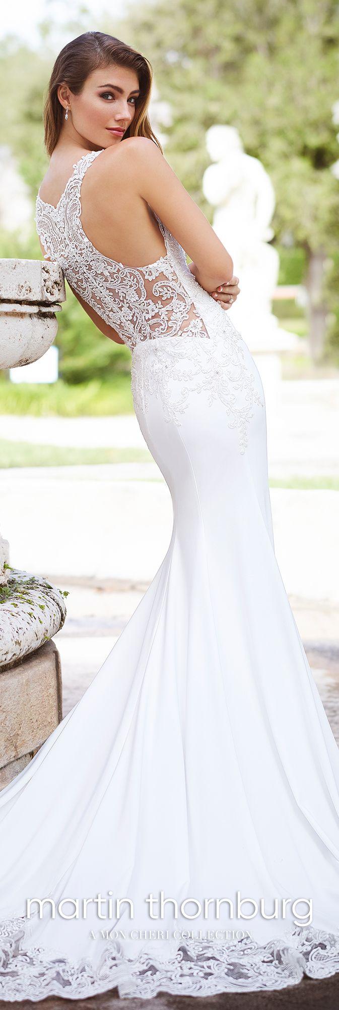 Sleeveless lace high neck crepe fit u flare wedding dress martin