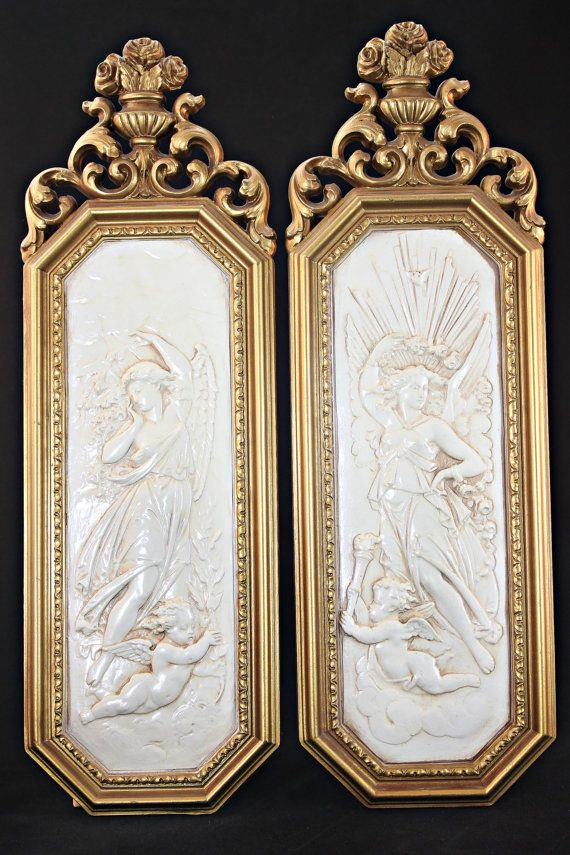 Hollywood Regency Wall Hangings Dart Inc Plaque Pair Glam Decor Molded Resin Plaques