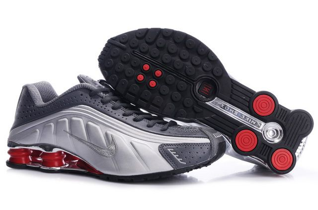 Gray Silver Red Mens Nike Shox R4 Shoes 95772