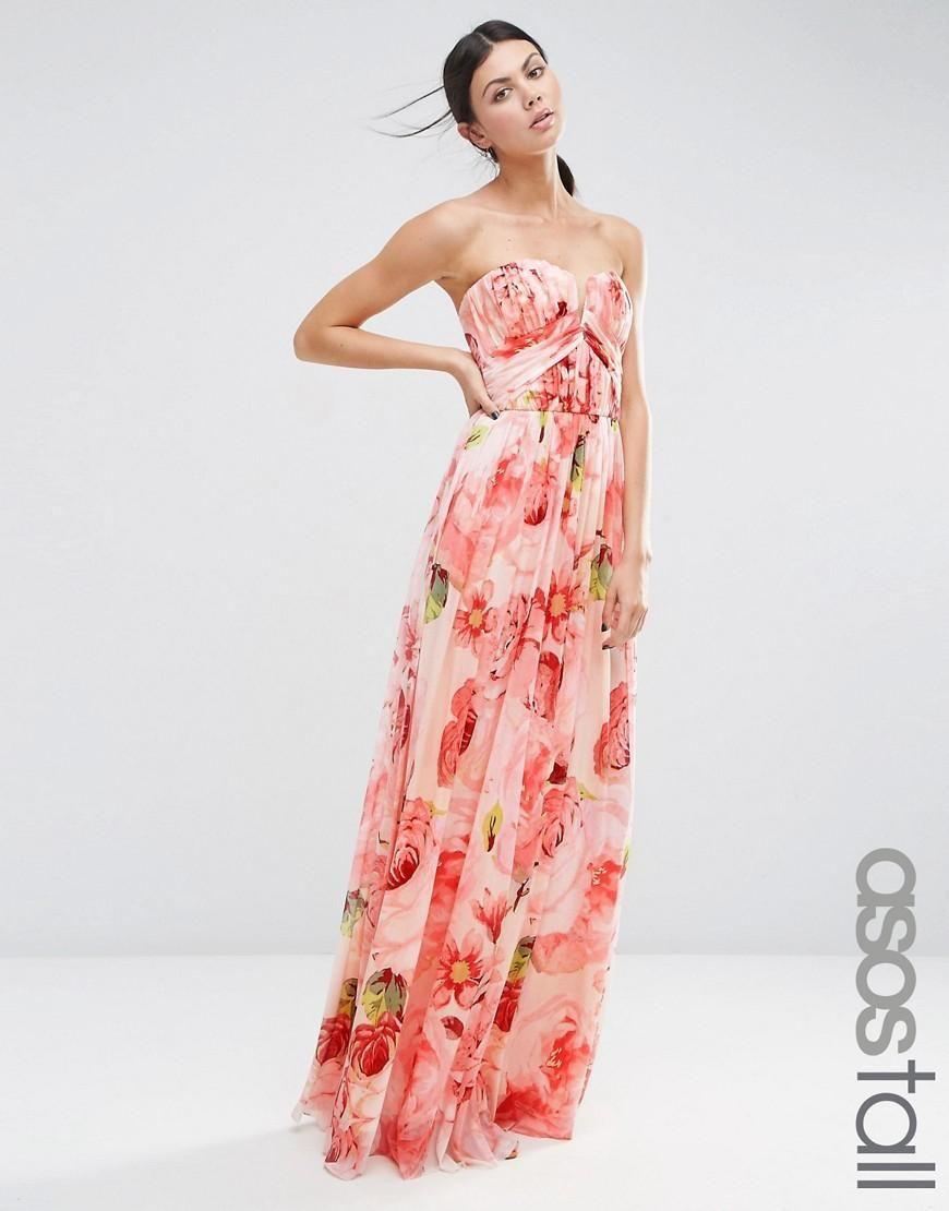 d5b8ce193c7a8 ASOS Tall | ASOS TALL WEDDING Floral Printed Ruched Bandeau Mesh Maxi Dress  at ASOS