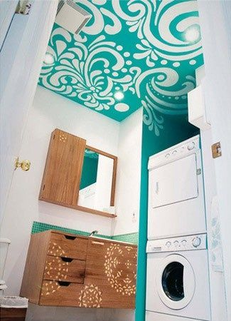 Make your Small bathroom stand out!   Love the Ceiling! @ House Remodel Ideas