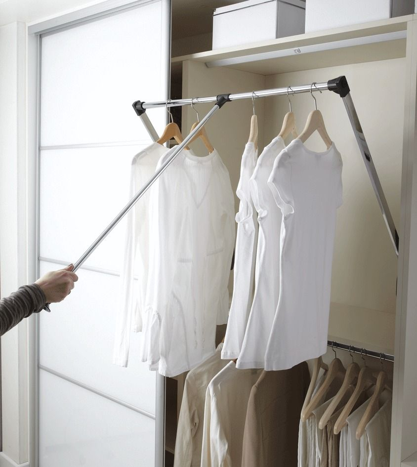 New pull down wardrobe robe rail rack hanger wardrobe for Walk in wardrobe fittings