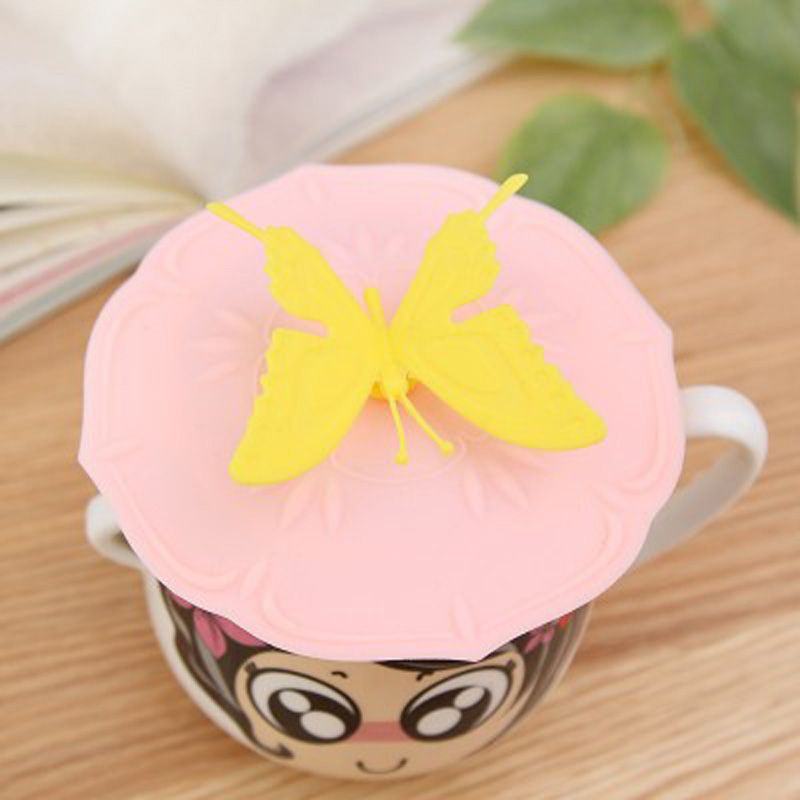 2pcs 3d Creative Silicone Cup Lid With Bow Knot Flower Butterfly